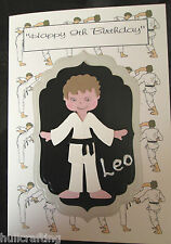 KARATE A5 BIRTHDAY CARD MALE OR FEMALE HANDMADE PERSONALISE FRONT