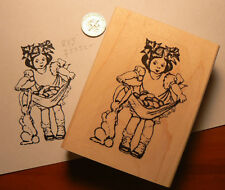 P15  Easter bunny with girl Vintage Rubber Stamp WM