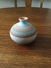 Vintage Navajo Pottery Carved Vase ~ Pot  Signed Michael Charlie