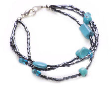 FASHION BOHO STYLE THREE RAW BEADED FUNKY BRACELET & TURQUOISE STONES(ZX51)