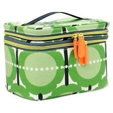 NWT Orla Kiely Green Flower Print Beauty Cosmetic Train Case Bag
