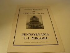 Penn Line HO Scale Railroad  Pennsylvania L-1 Mikado Assembly Instructions