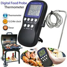 Digital Food Probe Oven Thermometer Timer Temperature Sensor Cooking Baking QT