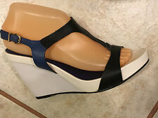 Dune London White/Blue/Black Leather Wedge Heel Strappy Sandals Sz 39:US 8.5-9M
