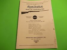 Remington Model 241 AUTOLOADING 22 Caliber Rifle Instructions Operation & Care