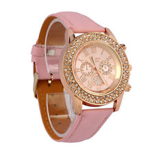 Women Crystal Dial Quartz Analog Leather Bracelet Wrist Watch Pink Gifts Fast
