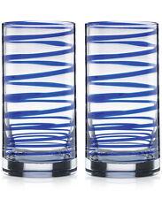 Kate Spade New York Charlotte Street Highball Glasses Set (2) Blue Rings NEW