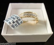 10kt Yellow Gold Genuine .025 cttw Diamond Ring / Men's Wedding Band Size 10