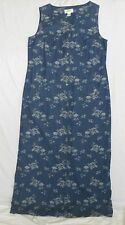 TALBOTS BLUE DENIM FLORAL SLEEVELESS DRESS WOMENS SIZE 8