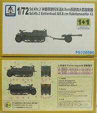 Sd.Kfz.2 Kettenkrad & 8,8 cm Raketenwerfer 43 , 1/72, S-Model ,Doppelpack , NEU,