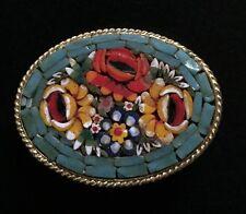 Hübsche alte Mosaik  Brosche mit Blumen Motiv / Mosaiksteine