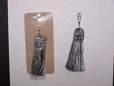 """3 Tassels Light & Dark Blue / Ivory Color Rayon  3-1/4"""" New Sewing Craft Supply"""