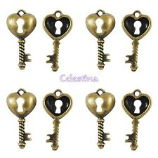 10 x Love Heart Key - Lock Charms Antique Gold Padlock Alice in Wonderland