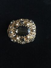 Vintage West Germany Prong Set Black Rhinestone Gold Filigree Pearl Brooch