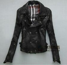 2016 womens punk rock moto biker Sheep skin real leather show jacket coat