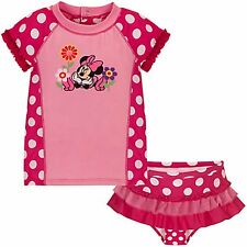 DISNEY Store Minnie Mouse Rashguard Swimsuit for Baby Girls Size 12-18 Months