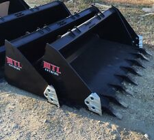 "66"" Severe Duty Tooth / Dirt Bucket w/ side cutters skid steer Bobcat-Ship $149"