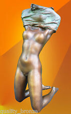 BRONZE STATUE, NAKED NOUVEAU GIRL, BRONZE FIGURE BRONZE FIGURINE SCULPTURE