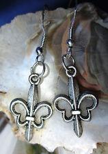 Ohrhänger Ohrring französische Lilie Fleur-de-Lys Fleur de Lis Haken Silber 925