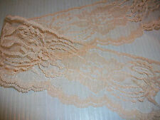 "LACE CLOSEOUT ROLL BOLT LACE PEACH 100 yd 3"" FLAT FLORAL TRIM DOLL CRAFT"