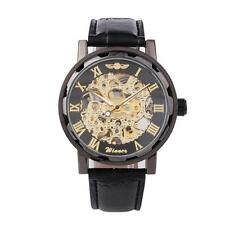 WINNER Men Skeleton Automatic Mechanical Stainless Steel Band Sport Watch Black