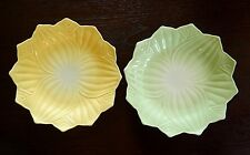 YELLOW AND GREEN Vitrock PLATES Lotus Leaf & Blossom by Anchor Hocking MINT COND