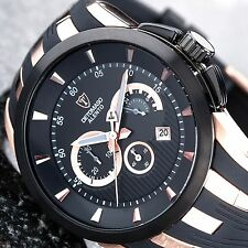DETOMASO ALENTO dt2036-b xxl Chronograph Date stainl. steel silicones rosegold New