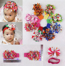 """Fashion 8pc 5inch Princess Hair Bows Clip With Headbands Accessories 2023+1.5""""-K"""