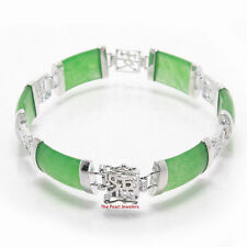 Five Sterling Silver 925 Partitions & Six Green Jade Segments Bracelets