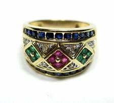 Estate Sapphire Emerald Ruby Diamond Wide Band Cigar Ring 14K Yellow Gold VIDEO