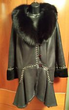 Beautiful Black Leather Shearling Coat.Oversized fox collar. Made in Spain. Sz L