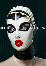Latex Rubber White and Black Maid Hood Cute Mask Size available XS- XXL