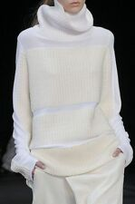 NWOT  $1,390  HELMUT LANG OPTIC WHITE CHUNKY KNIT TURTLENECK  SWEATER P