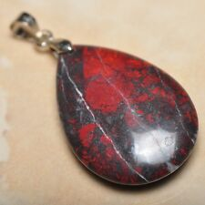 """Extremely Red Natural Bloodstone Jasper 925 18K WG Clasp 1.5"""" Pendant #P12692"""