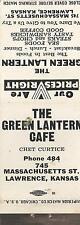 Lawrence KS The Green Lantern Restaurant Matchbook Cover c1940