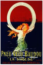 Pneu Velo Baudou - La Sirene Tire - French Mermaid Advertising Poster (22 x 28)