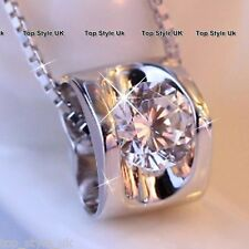 Silver Hollow Heart Charm Crystal Diamond Necklace Xmas Gifts for Her Women C3