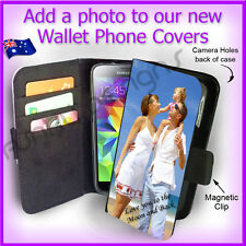Personalised PHOTO Samsung S5 Wallet Card Flip case PICTURE cover Logo Image