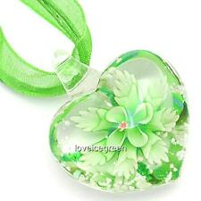 Green Flower Heart Lampwork Murano Glass Bead Pendant Ribbon Necklace Cord