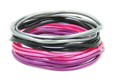 "24 High Quality XL 3"" Diameter Metallic & Black Jelly Bracelets #B1117-24"