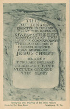 Lewisburg WV * Old Stone Church Inscription PC ca. 1930 * Greenbriar Co.