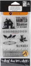 HAMPTON ART Stamp & Stencil HALLOWEEN Haunted House, Crows, Witch