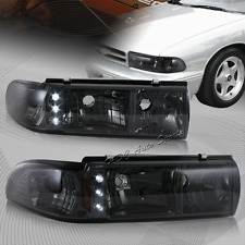 For Chevy Impala/Caprice LED Smoke Lens 1-Piece Headlights W/Amber Reflector