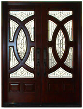 """Mahogany Double Exterior Front Entry Wood Door 680A 30""""X80""""X2 Left Hand Swing IN"""