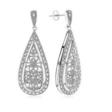 0.15 Carat Natural Diamond Teardrop Floral Dangle Earrings In Sterling Silver