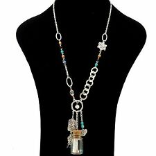 Serenity Prayer Message in a Bottle Heart Cross Pearl Crystal Charm Necklace Sv