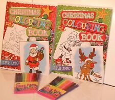 Super Jumbo A4 Christmas Colouring Book (192 Xmas Pages) Red or Green + 10 Felts