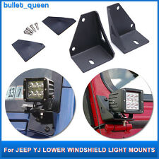 Lower Windshield LED Work Light Mounts Brackets For 87-95 4WD Jeep Wrangler YJ