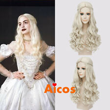 White Queen Long Curly Blonde Synthetic Cosplay Wigs for Alice in Wonderland 2