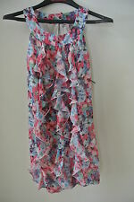 NWT.Ladies' juicy couture multi color foral ruffle front sleeveless lined dress